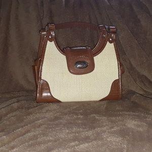White and tan purse